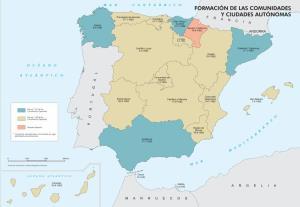 Mapa de formación de las comunidades y ciudades autónomas. IGN