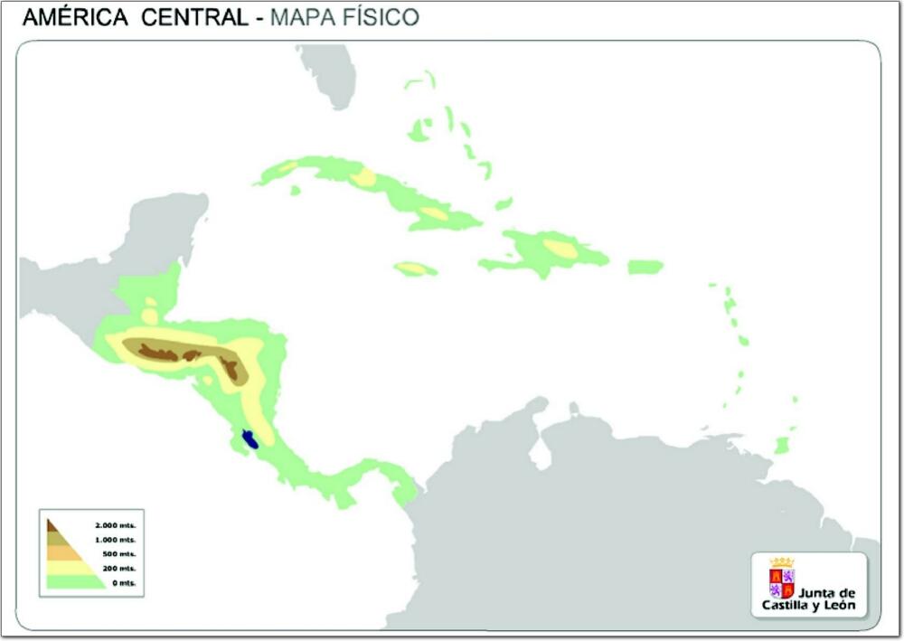 Mapa de relieve de América Central. JCyL