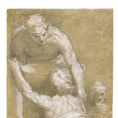 """""""Dos figuras levantando una vasija; y cabeza masculina"""""""