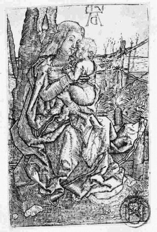 La Virgen con el Niño junto a un árbol
