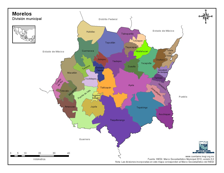 Mapa en color de los municipios de Morelos. INEGI de México