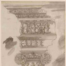 Basa, capitel y entablamento del orden jónico