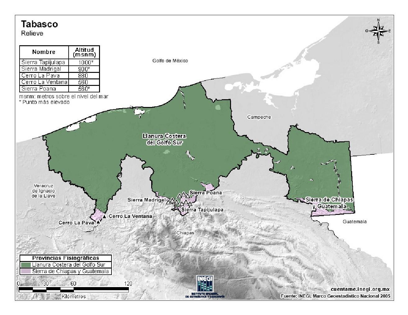 Mapa en color de montañas de Tabasco. INEGI de México