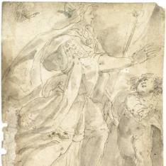 """""""Mujer con túnica y una corona, portando un cetro, acompañada por un niño /  Estudio para una composición de """"""""Noli me tangere"""""""""""""""