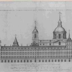 Sexto Diseño, Alzado del frente meridional del edificio, correspondiente al convento, la galería de convalecientes y el palacio