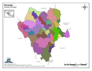 Mapa mudo de municipios de Durango. INEGI de México