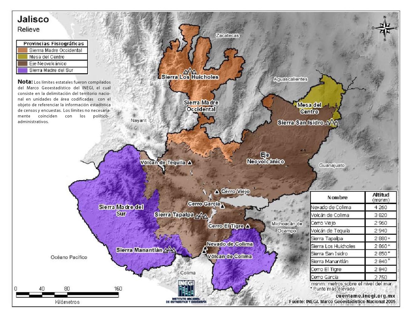 Mapa en color de montañas de Jalisco. INEGI de México