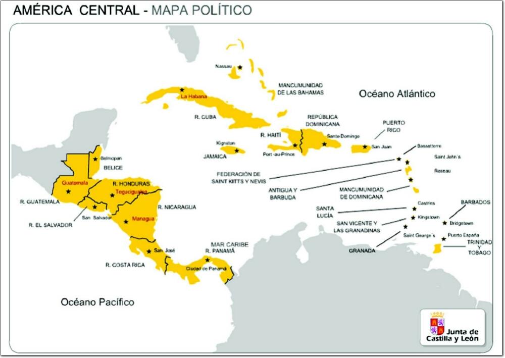 Mapa de países y capitales de América Central. JCyL
