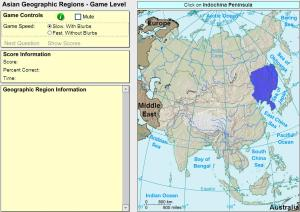 Geographic regions of Asia. Game. Sheppard Software