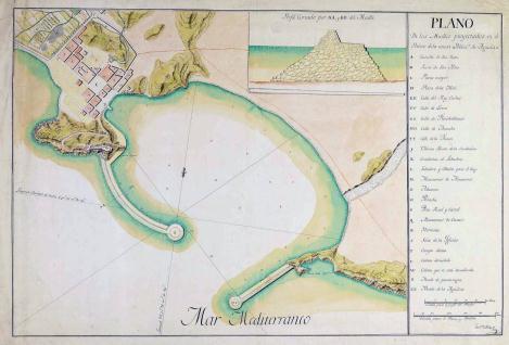 Plano de los Muelles proyectados en el Puerto de la nueva Poblacn. de Aguilas