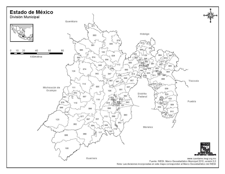 Mapa de municipios del Estado de México. INEGI de México