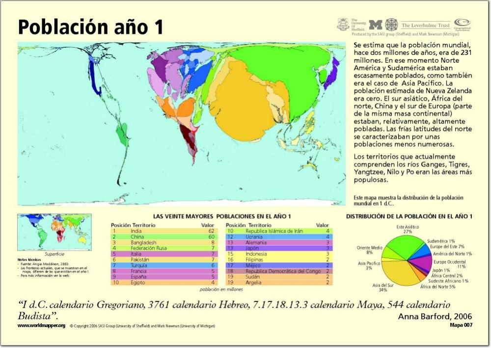 Mapa de países del Mundo. Población año 1. Worldmapper