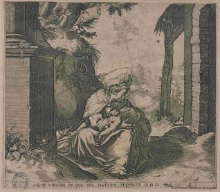 La Virgen con el Niño en su regazo