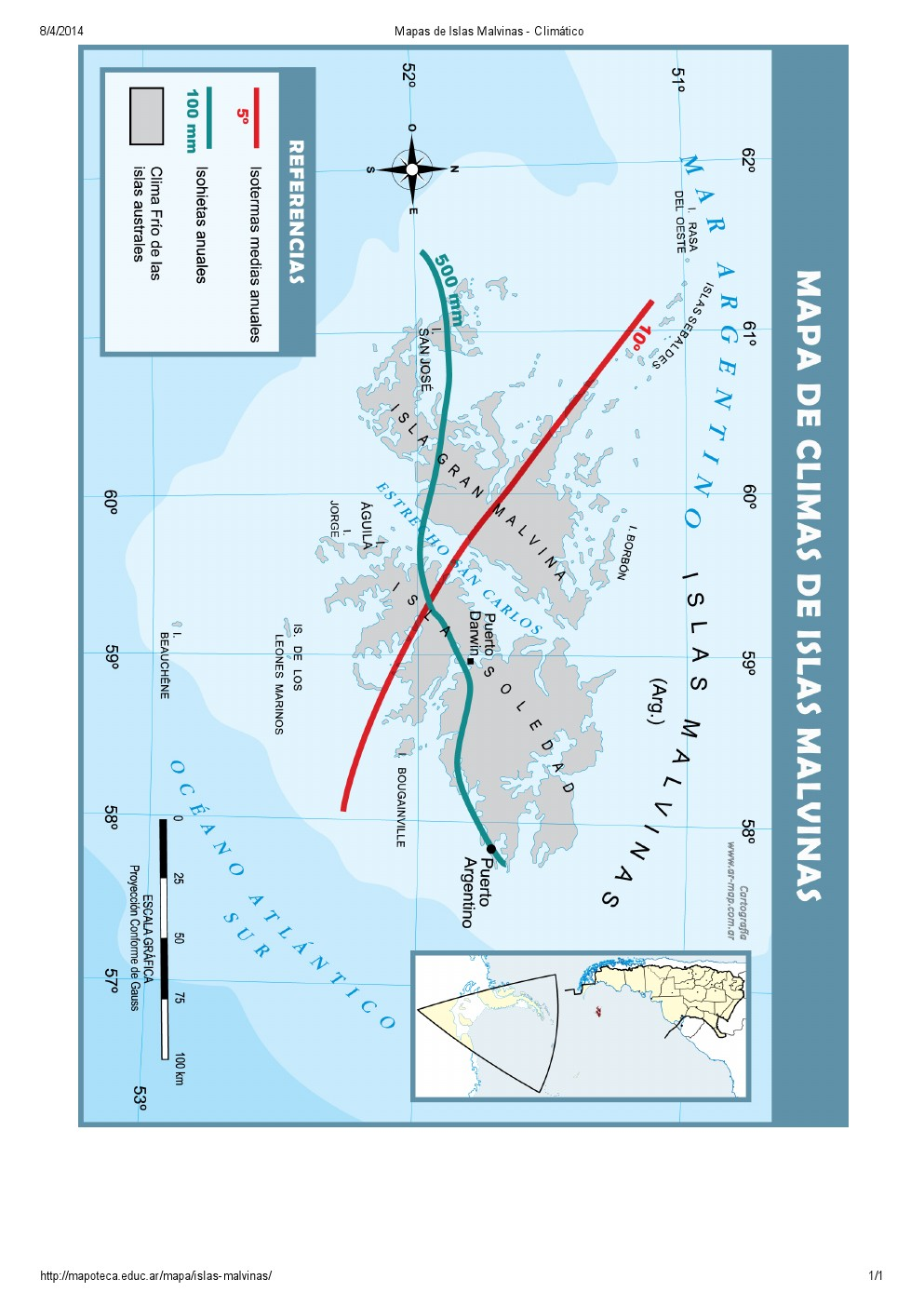 Mapa climático de las Islas Malvinas. Mapoteca de Educ.ar