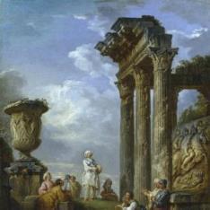 Ruinas con mujer dirigiendo la palabra a varias personas o Predicación de una sibila