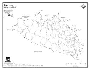 Mapa mudo de municipios de Guerrero. INEGI de México