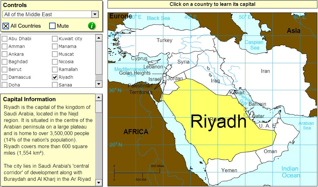 Capitals of Middle East. Tutorial. Sheppard Software