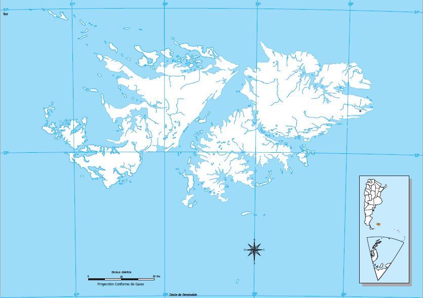 Mapa mudo de las Islas Malvinas. IGN de Argentina