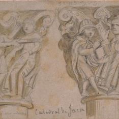 Dos capiteles de la catedral de Jaca (Huesca)