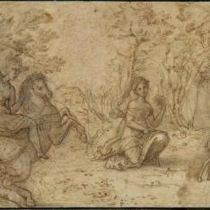Cazador a caballo persiguiento a un venado, observado por una doncella