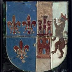 Azulejos por tabla con las armas de la familia de La Cerda