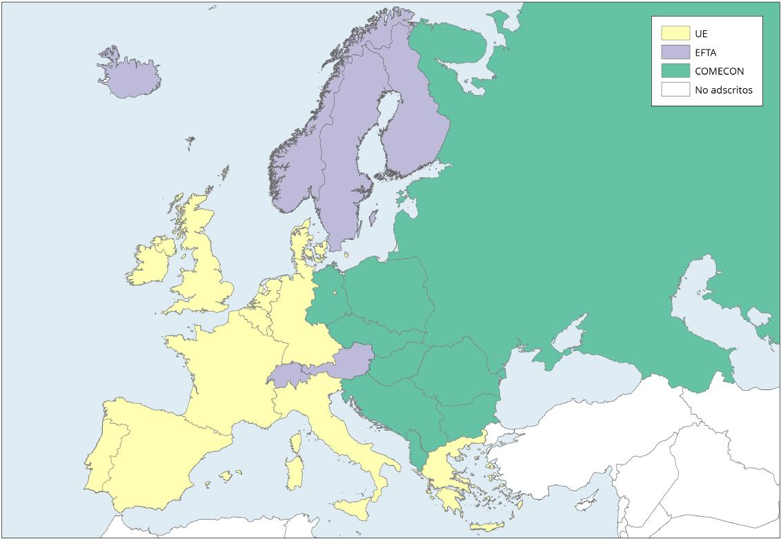 Mapa de Europa: Organizaciones de integración económica 1986. Learn Europe