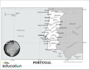 Mapa de ríos y ciudades de Portugal. National Geographic