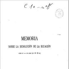 Memoria sobre la resolución de la ecuación cos x=n cos (a+2x)
