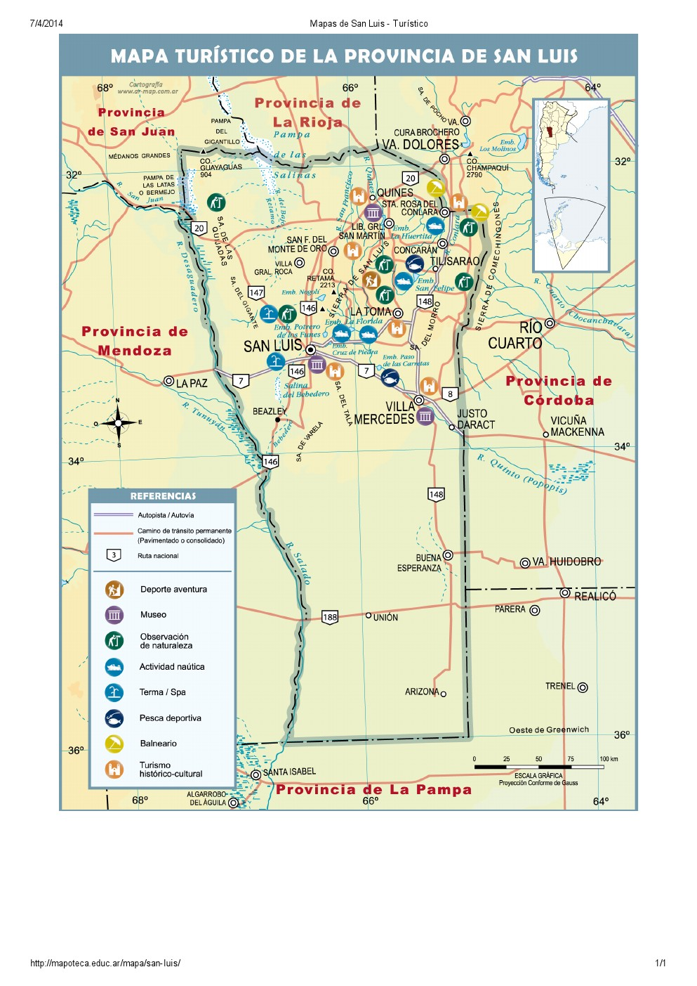 Mapa turístico de San Luis. Mapoteca de Educ.ar