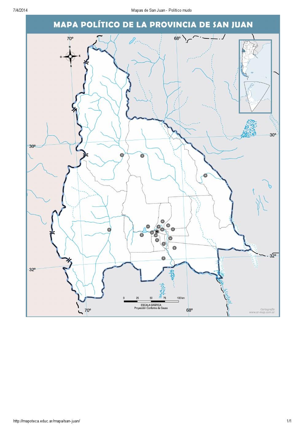 Mapa mudo de capitales de San Juan. Mapoteca de Educ.ar