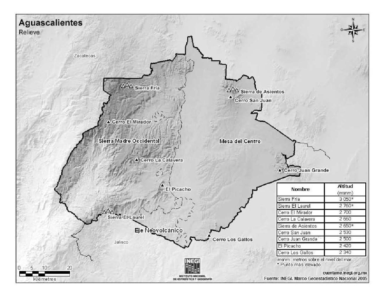 Mapa de montañas de Aguascalientes. INEGI de México