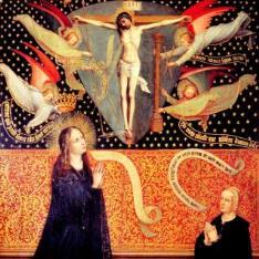 Coronación de María ante Cristo crucificado y una donante