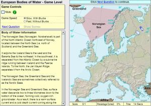 Oceans and lakes of Europe. Game. Sheppard Software