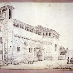 Vista exterior del monasterio cisterciense de Santa María de la Gloria, Casbas, Huesca