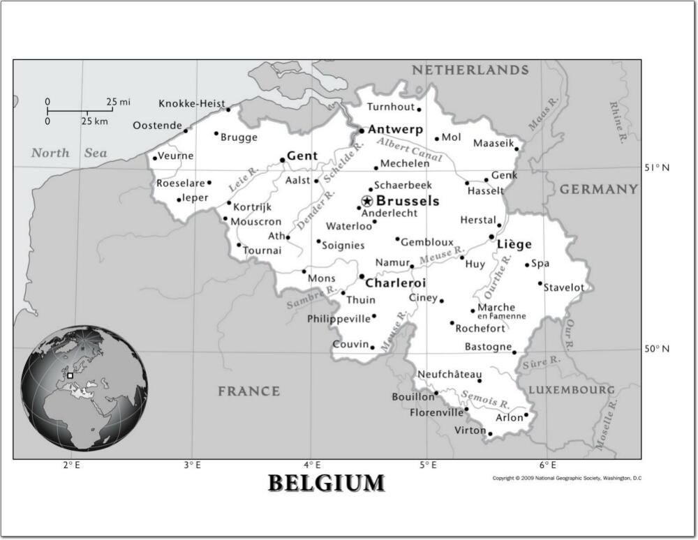 Mapa de ciudades y ríos de Bélgica. National Geographic