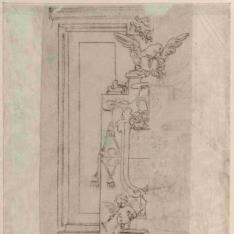 Detalle de un retablo con el escudo de un obispo