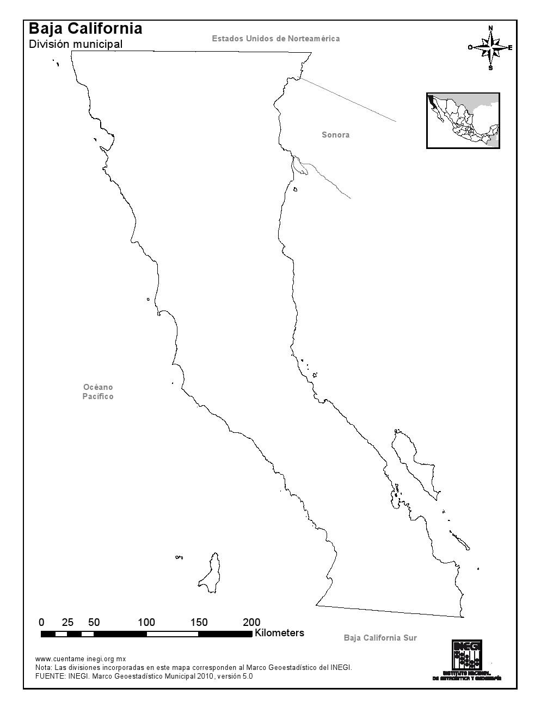 Mapa mudo de Baja California. INEGI de México
