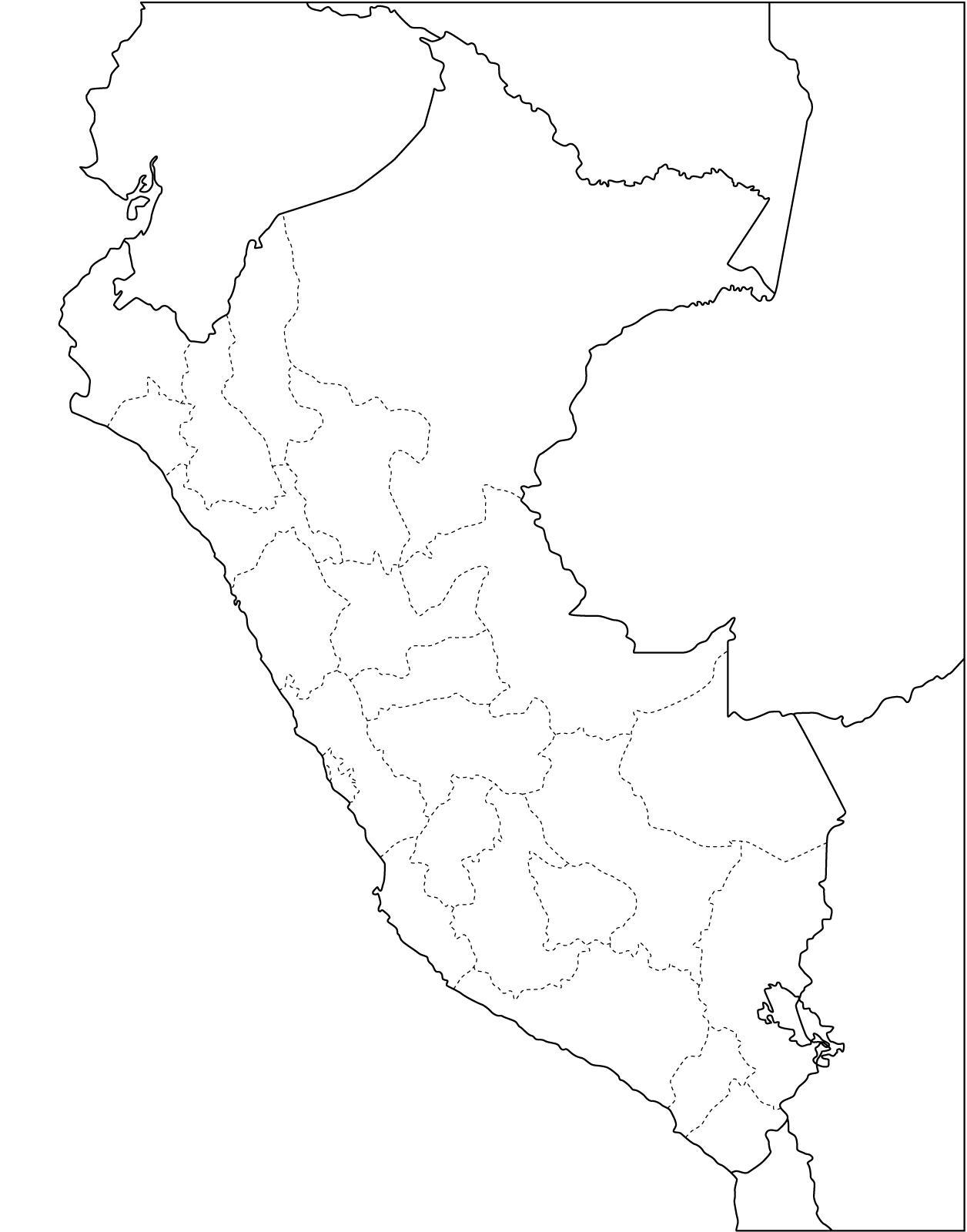 Mapa de departamentos de Perú. Freemap