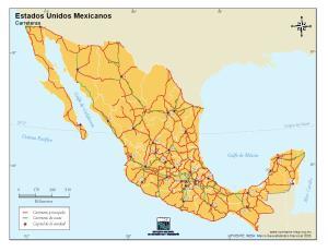 Mapa de carreteras de México. INEGI de México