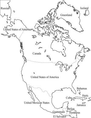 Mapa de países de América del Norte. Freemap