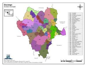 Mapa en color de los municipios de Durango. INEGI de México