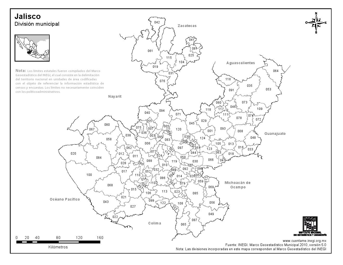 Mapa de municipios de Jalisco. INEGI de México