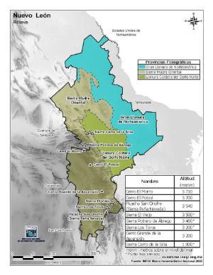 Mapa en color de montañas de Nuevo León. INEGI de México