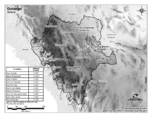 Mapa de montañas de Durango. INEGI de México