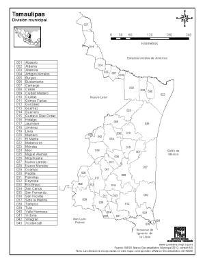 Mapa de municipios de Tamaulipas. INEGI de México