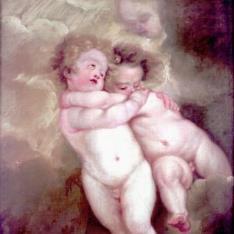 Dos angelotes abrazados
