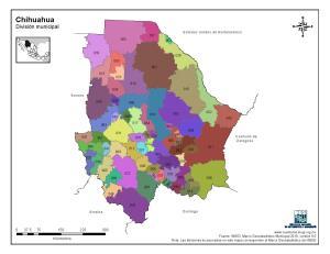 Mapa en color de los municipios de Chihuahua. INEGI de México
