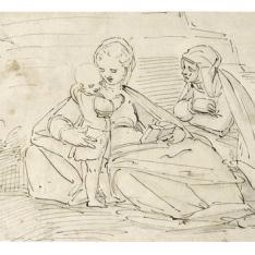 La Virgen y el Niño, con Santa Ana, sentados en el suelo, al aire libre, delante de un muro