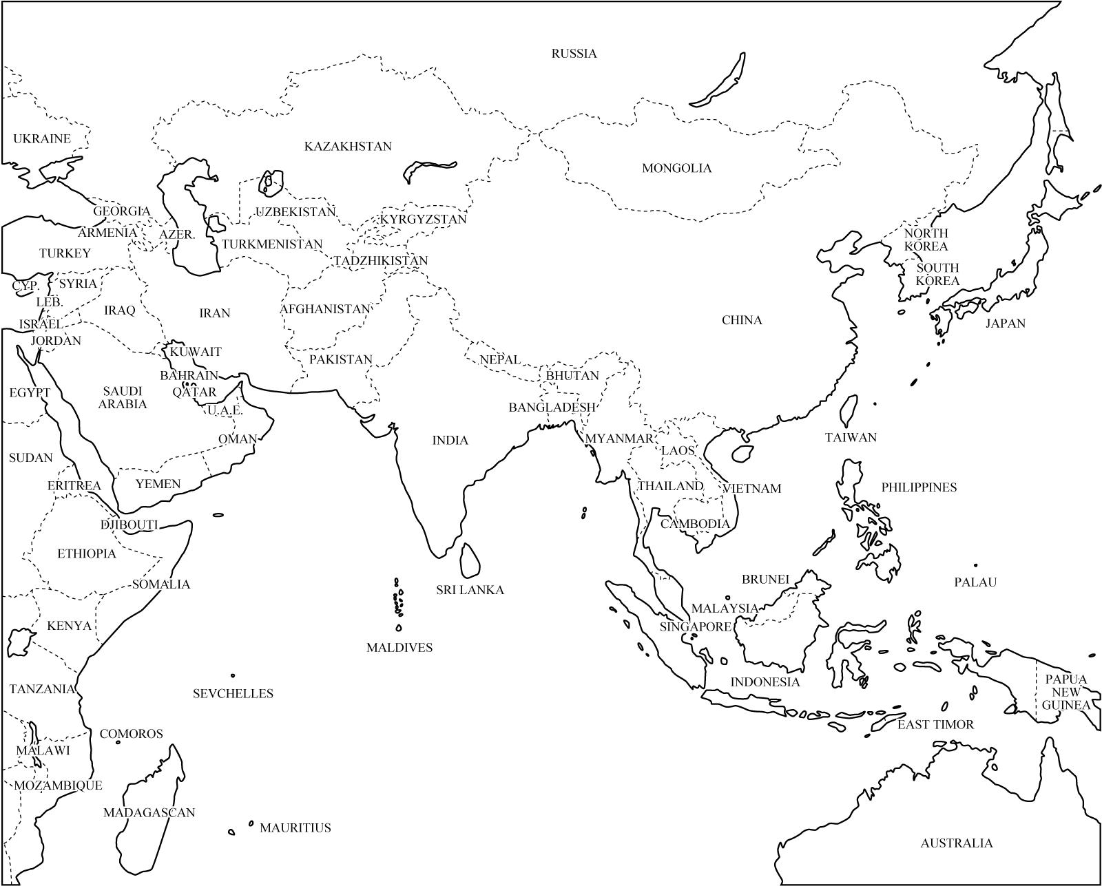 Mapa de países de Asia. Freemap