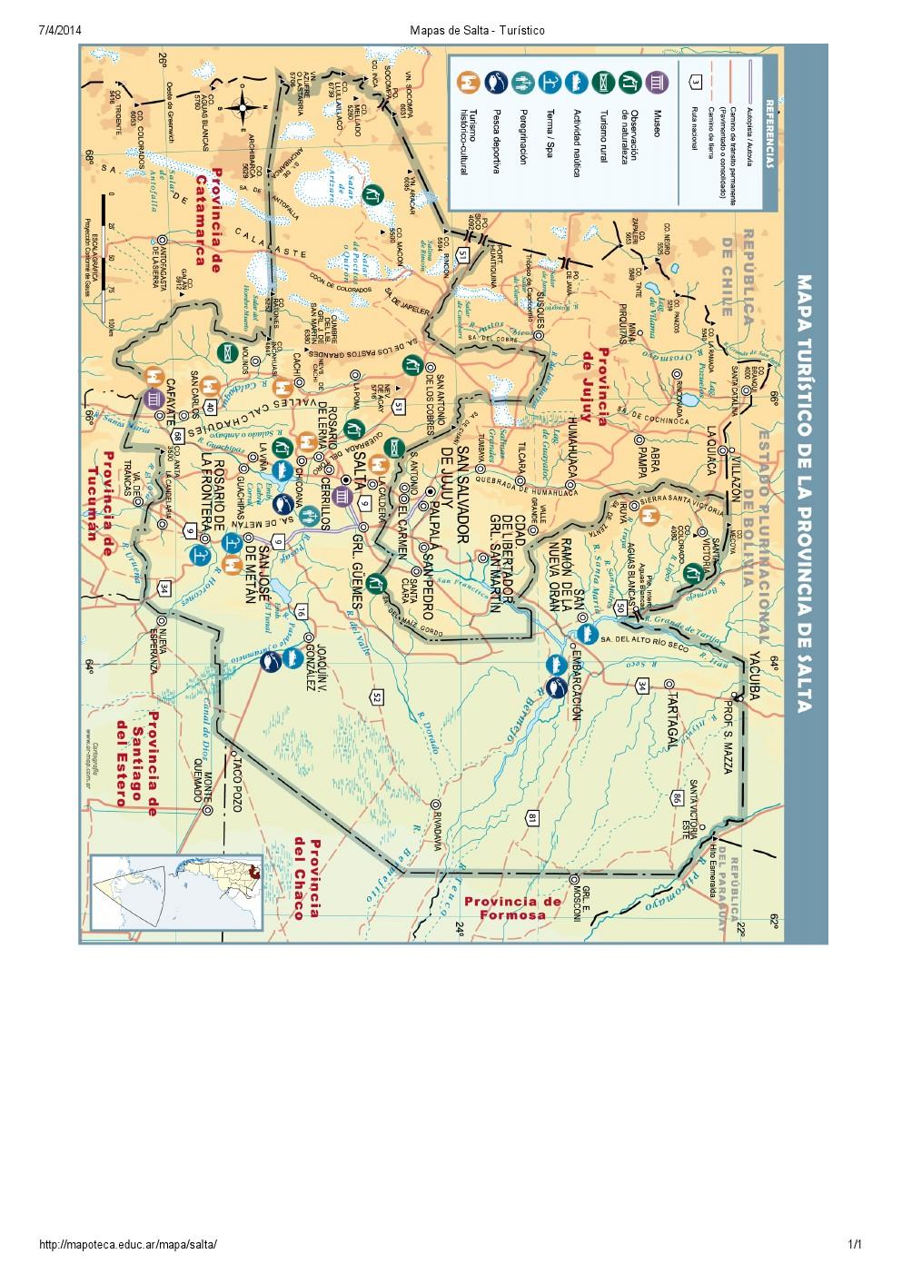 Mapa turístico de Salta. Mapoteca de Educ.ar